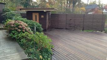 Gartensauna, Sichtschutz und Terrassendecks aus Thermoholz