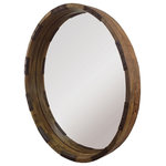 Renwil - Industria Mirror - The mango wood frame and metal accents in a distressed finish adds character to this round mirror. This piece would look amazing in a Industrial-style home. This wall mirror makes a grand statement in a living room, bedroom or entryway.