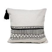 "Boho Tribal Textured Decorative Throw Pillow , Boho Tribal Tassels 18""x18"""