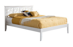 Celine, Contemporary Geometric Pattern White Solid Wood Full Size Platform Bed