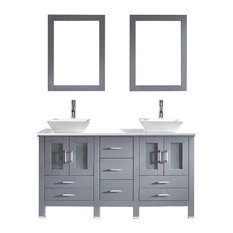 "Virtu Bradford 60"" Double Bathroom Vanity, Gray With Faucet And Mirrors"