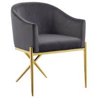 Xavier Velvet Dining Chair, Gray, Gold Legs