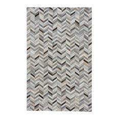 Butte Arrowhead 5'x8' Handmade Leather Area Rug, Ash Multi