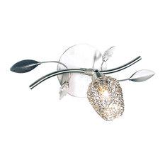 Sylvie Silver Metal Floral Flush-Mount Ceiling Light, 1 Light