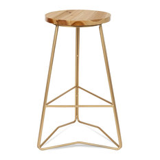 Backless Counter Stools Geometric Metal Base With Round Seat Natural/Gold