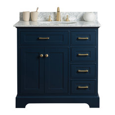 "36"" Single Sink Bathroom Vanity, Blue With Carrara Marble Top"