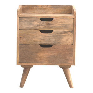 3-Drawer Bedside Table, Oak Finish Mango Wood