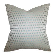 """Radclyffe Dot Pillow Gray Blue 20""""x20"""""""