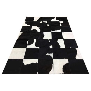 Patchwork Leather Cubed Cowhide Rug, Black and White, 200x300 cm