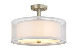 4-Light Semi-Flush Mount Satin Nickel Organza Fabric Shade