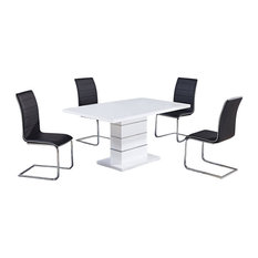 Global Furniture USA   D470DT + D490DC White Gloss And Black Vinyl Five  Piece Dining Set