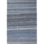 Sams International - Abacasa Skye Midori Blue and Ivory Area Rug, 8'x10' - Add a unique textural foundation to any room with the Skye Midori Area Rugs. Crafted from all natural materials - cotton, denim and wool, this rug is hand woven in India to create a beautiful striped design in various shades of blue and ivory.