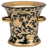 """Beautiful Gold and Black Porcelain Ring Cup 7"""""""