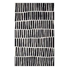 Irregular Parallel Bars Area Rug, Black, 5'x8'
