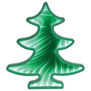 Light-Up Christmas Tree Infinity Mirror Tunnel - LED Lit Holiday Decor