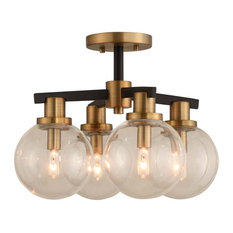 Cameo 4-Light Semi-Flush Mount, Matte Black With Brushed Pearlized Brass