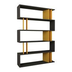 Decortie Design Inc - Partiro Bookshelf, Anthracite and Mustard - Bookcases