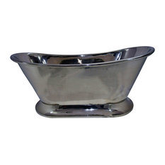 Nickel Finish Copper Bathtub With Curved Pedestal