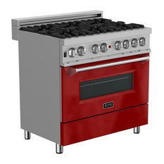 """ZLINE 36"""" Range Gas Stove/Electric Oven, DuraSnow and Red Gloss Door"""