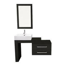 """33.5"""" to 45"""" Scorpio Wall Mounted Vessel Sink Modern Bathroom Vanity Set"""