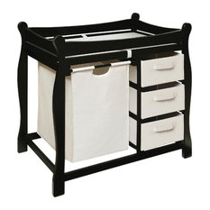 Badger Basket Co Black Sleigh Style Changing Table With Hamper/3 Baskets