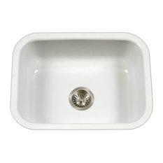 Houzer PCS-2500 WH Porcela Porcelain Enamel Steel Single Bowl Sink, White