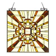 FARLEY, Tiffany-glass Mission Window Panel, 24.5x26