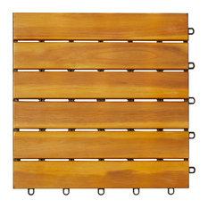 "12""x12"" 6-Slat Acacia Interlocking Deck Tile, Set of 10"
