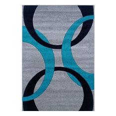 "Linon Rugs Corfu Kids Area Rug, Gray and Turquoise, 1'11""x2'10"""