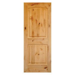 "Rustic Knotty Alder 2-Panel Top Rail Arch Solid Wood Core Exterior Door, 24""x80"""