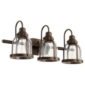 "Quorum 3-Light 25"" Oiled Bronze Wall Vanity Light"
