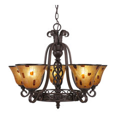 Elegant 5-Light Chandelier Dark Granite Penshell Resin Shade