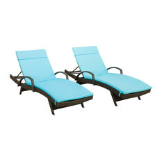 GDF Studio Olivia Outdoor Chaise Lounge Chairs With Blue Cushions, Set of 2