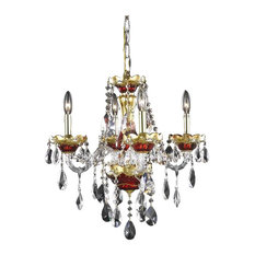 Elegant Lighting Alexandria 4-Light Chandelier, Gold/Red/Royal Cut