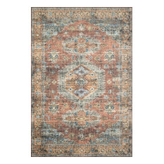 Terracotta and Blue Printed Polyester Skye Area Rug by Loloi II, Terracotta/Sky