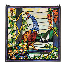 Peacock's Garden Stained Glass Window