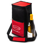 DIVIN - Premium Insulated Wine Bag by DIVIN - holds 4 bottles - 4-bottle wine bag, Colors: Red & Black