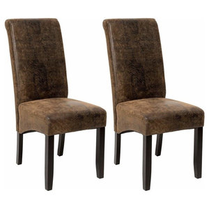 Contemporary Set of 2 Chairs, Black Finished Wooden Legs Antique Suede Style