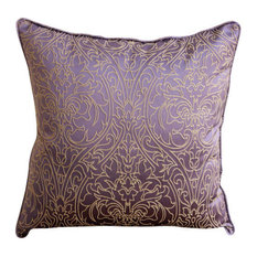 Gold Damask Embroidered 35x35 Art Silk Purple Cushions Cover, Purple & Gold
