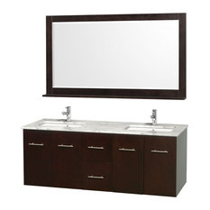 "Wyndham Collection 60"" Centra Espresso Double Vanity With Square Porcelain Sink"