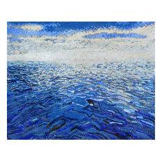 "Simple Mosaic Ocean and Sky Art, 71""x94"""