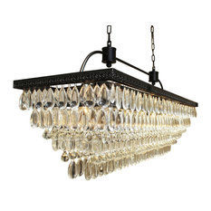 Rectangular chandeliers houzz lightupmyhome weston 40 rectangular glass drop crystal chandelier black finish chandeliers aloadofball Images