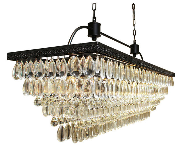 Weston 40 rectangular glass drop crystal chandelier black finish weston 40 rectangular glass drop crystal chandelier black finish mozeypictures Gallery