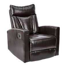 Comfortable Recliner PU Leather Upholstery With Padded Headrest Brown