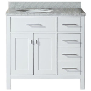 """36"""" Belvedere Traditional Freestanding White Bathroom Vanity With Marble Top"""