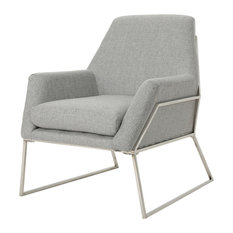 GDF Studio Zach Modern Fabric Armchair With Stainless Steel Frame, Gray