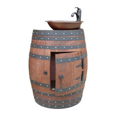 French Oak Wine Half Barrel Vanity Table With Hammered Copper Sink