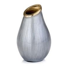 Sedoso Gray And Gold Round Vase