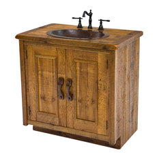 Wood Vanity With Hand-Hammered Copper Sink
