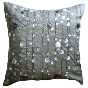 Gray Art Silk 35x35 Lined Crystals Cushions Cover, Diamond Strings